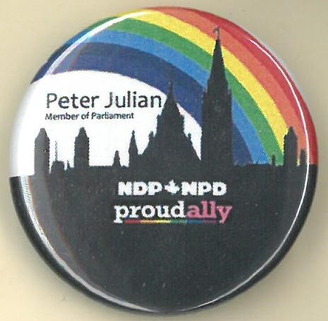 Cover image of Peter Julian NDP proudally. Button.