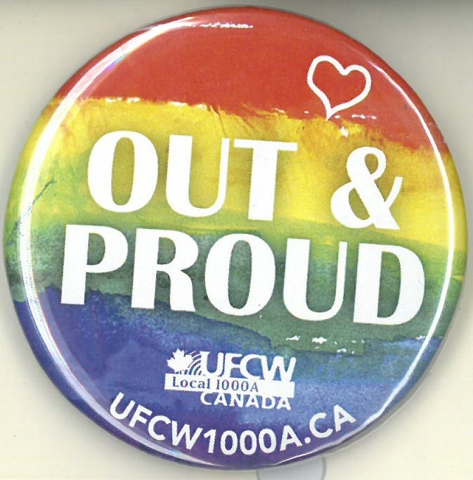 Cover image of Out & Proud. Button.
