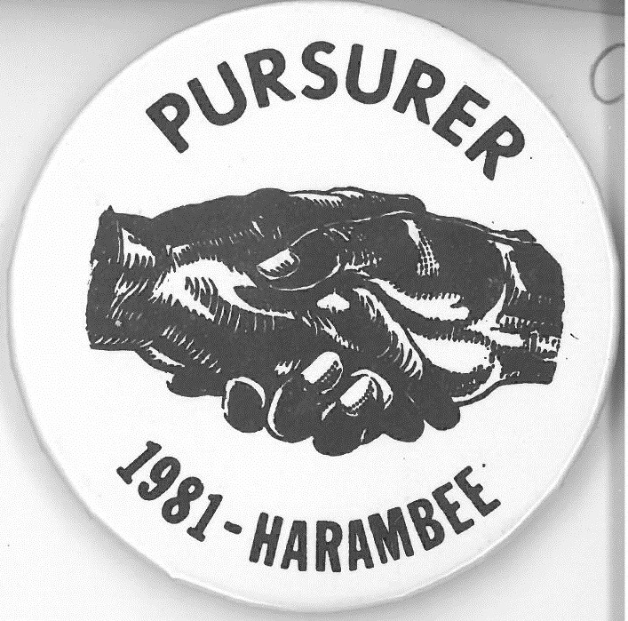 Cover image of Pursurer 1981-Harambee. Button.