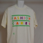 Cover image of Front; Fashion Cares: Reverse; Names of Sponsors. T Shirt.
