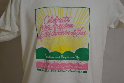 Cover image of Celebrate the Freedom of the Children of God. Freedom and Responsibility. Eighth Annual Dignity Convention July 23-26, 1987,  Bal Harbour, Florida, U.S.A.. T Shirt.