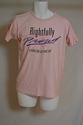 Cover image of Front;Rightfully Proud Toronto Lesbian and Gay Pride Day 1997: Reverse; Chaps. T Shirt.