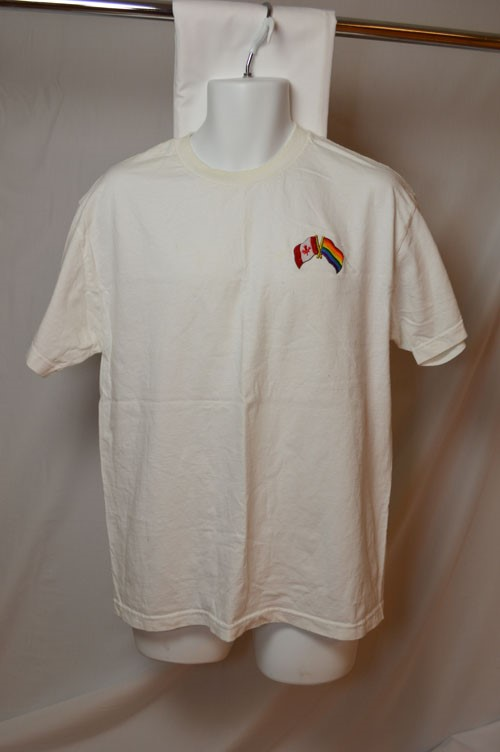 Cover image of Canada Flag and Rainbow Flag (White Large). T-shirt.
