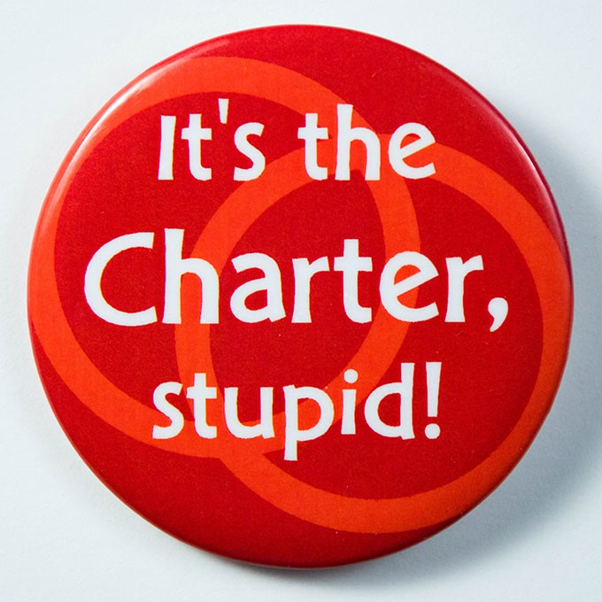 Cover image of It's the Charter, stupid!. Button.