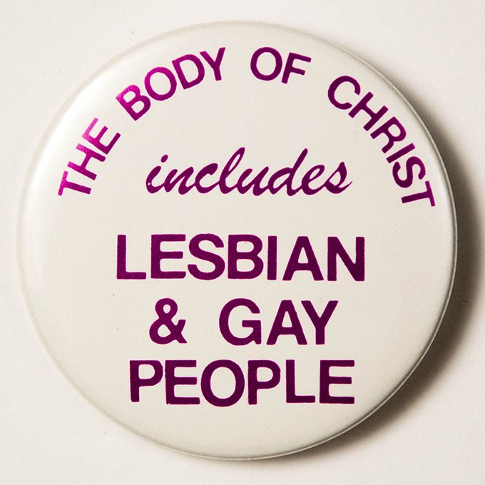 Cover image of The Body of Christ includes lesbian & gay people. Button.