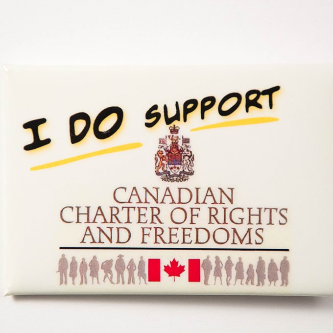 Cover image of I do support: Canadian Charter of Rights and Freedoms. Button.