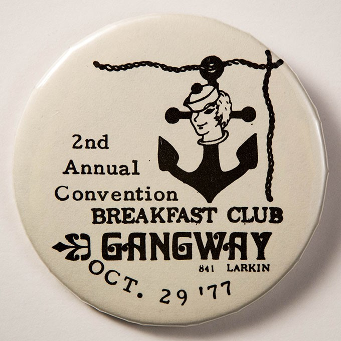 Cover image of Breakfast Club 2nd annual convention Oct. 29 '77 Gangway 841 Larkin. Button.