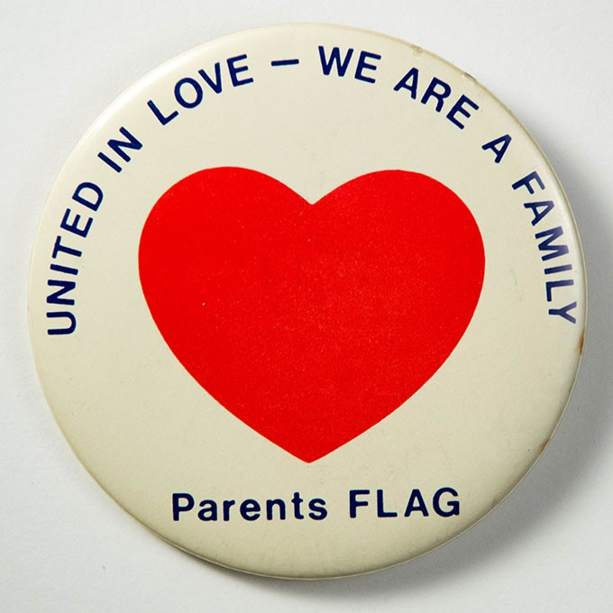 Cover image of United in love - we are a family  Parents FLAG. Button.