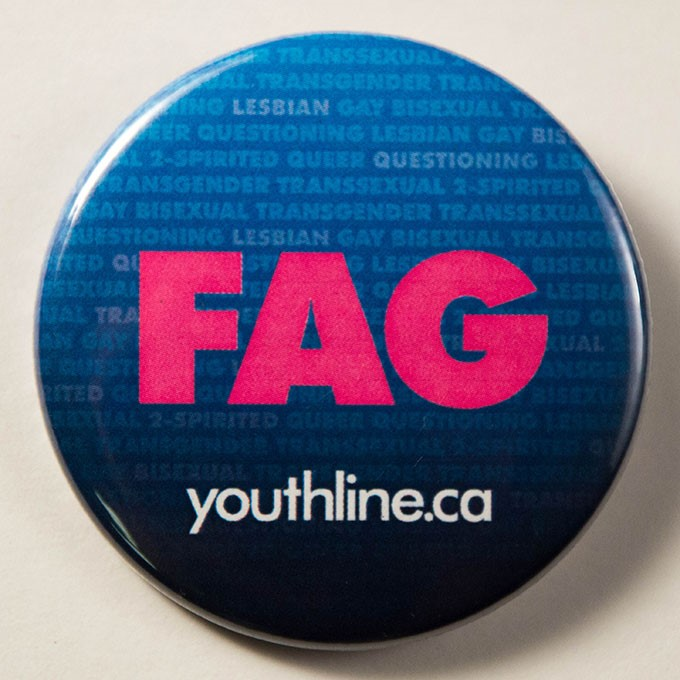 Cover image of FAG   youthline.ca   (Background: lesbian, gay,  bisexual, questioning,transgender, transsexual, queer, 2-spirited). Button.
