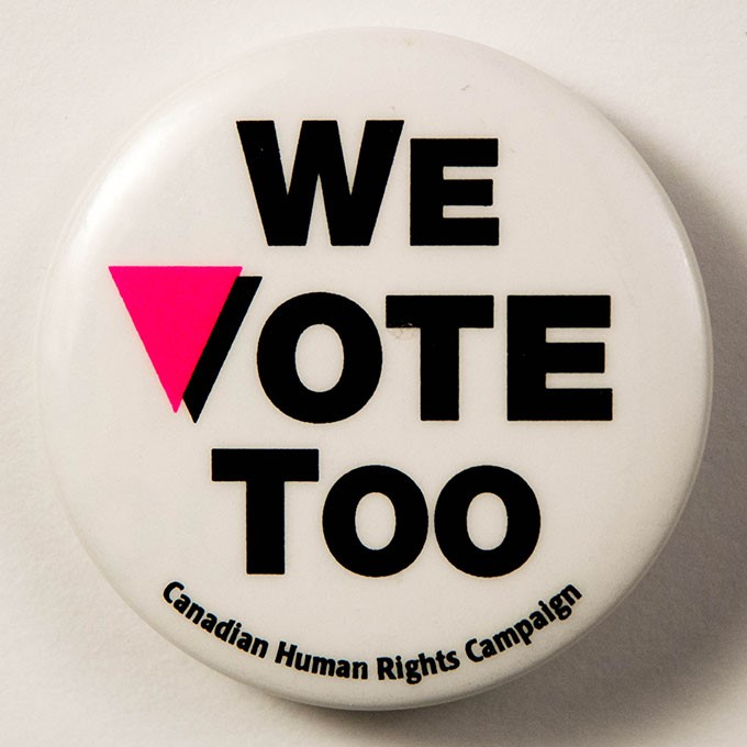 Cover image of We vote too. Button.