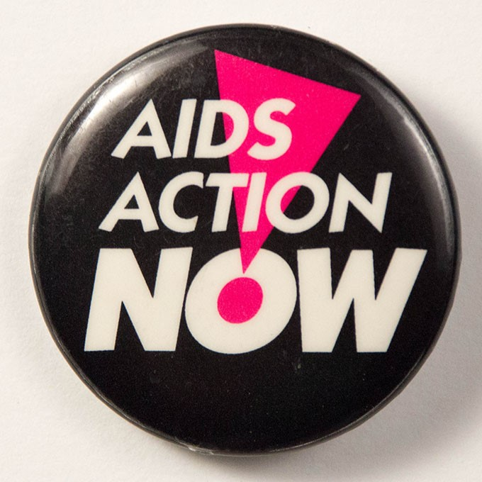 Cover image of AIDS Action Now. Button.