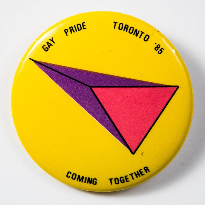 Cover image of Gay pride: Toronto '85: coming together. Button.